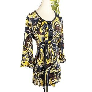VTG Accordion Pleated Tunic Bell Sleeve Yellow